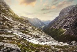 Norway scenic mountain landscape. Famous Norwegian mountain road