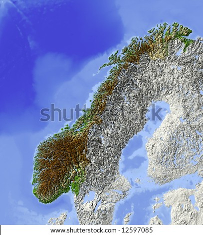 Map Of Norway And Surrounding Countries. Shaded relief map, with major