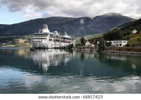 Norway, Sogn of Fjordane county. Cruise ship anchored, Nordfjord in Olden.