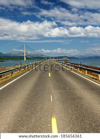 Norway, stunning landscape, Norway road landscape, Modern Brigde Zdjęcia stock ©