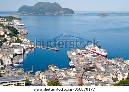 Norway, view of the city of Stavanger and fjord. Summer, sunny day, clear clear sky
