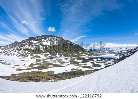 Norway with blue sky and snowy hills