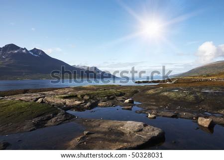 Norwegian coast landscape - stock photo