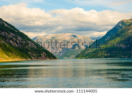 Norwegian fjord and mountains. Norway.