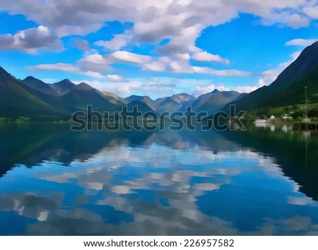 Norwegian fjords near Andalsnes. Stylized as painting.