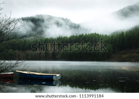 Norwegian fjords. Scandinavia. Fog in the mountains. A gloomy picture. The forest is in a fog. Mystic. Nature. River by the forest. Mountains above the lake. Boats at the shore.
