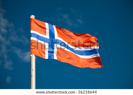 Norwegian flag against blue sky