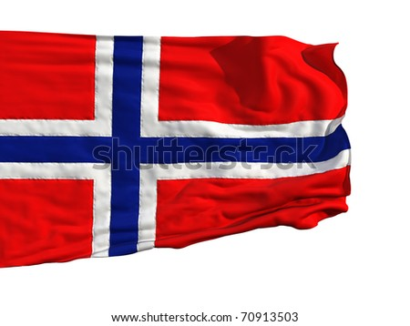 Norwegian flag, fluttering in the wind. Sewn from pieces of cloth, a very realistic detailed flags waving in the wind, with the texture of the material, isolated on a white background