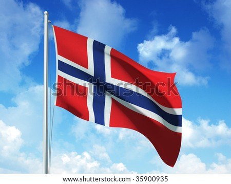 norwegian flag in blue sky background - 3d rendered image - stock photo