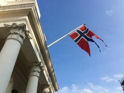 Norwegian flag on the embassy of Norway in Belgravia, London
