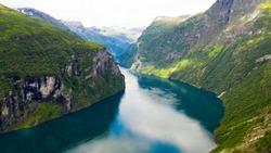 Norwegian Geiranger fjord with beautiful water