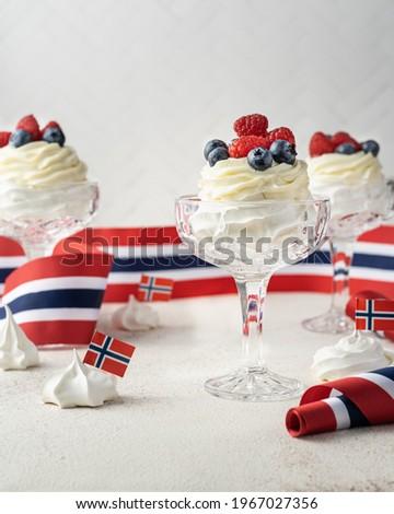 Norwegian Independence Day 17th mai. Pavlova in glass Stock photo ©