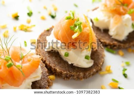 Norwegian Smoked Salmon Canapés with Cream Cheese Photo stock ©
