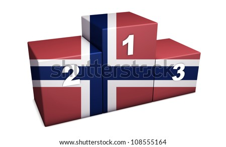 "Norwegian top positions 3d rendering. Podium for concept "" the best of Norway "". Isolated on white."