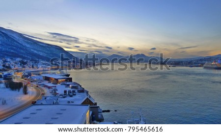 Norwegian town  at dusk #795465616