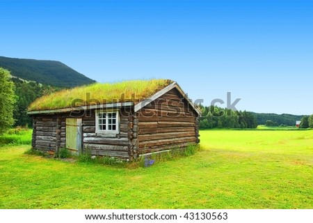 Norwegian typical grass roof country house