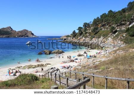 Nosa Senora beach in Cies islands. Galicia, Spain Zdjęcia stock ©