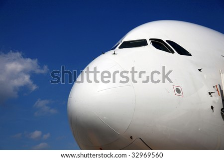 Nose of Airliner frontal side view