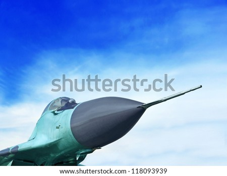 "Nose of the Mikoyan MiG-29 ""Fulcrum"". Fourth-generation jet fighter aircraft"
