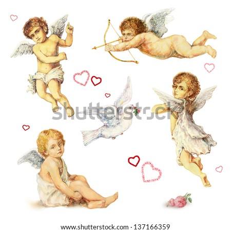 Nostalgic design elements set: angels, doves and roses - stock photo