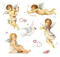 Nostalgic design elements set: vintage angels, doves and roses