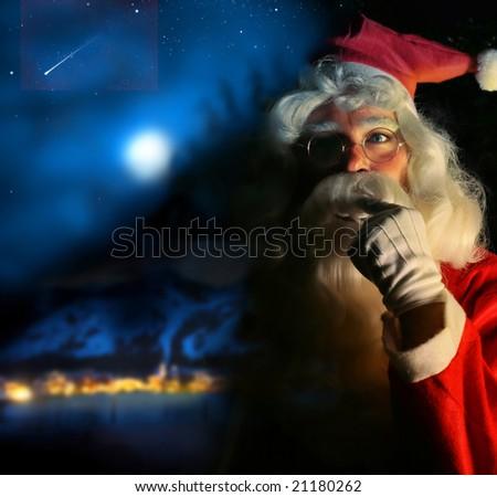 Nostalgic magical portrait of Santa Claus at the North Pole
