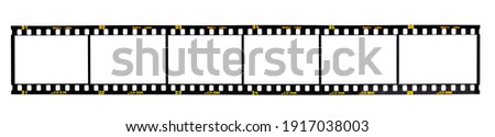Nostalgic 35mm camera film with space for your images isolated on white background.  Film's fiction brand name Rafu Jira was created by the artist Foto stock ©