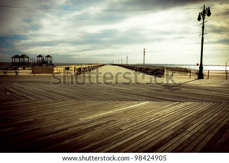 Nostalgic, vintage style image from the Brooklyn Coney Island Boardwalk