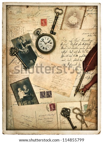 nostalgic vintage styled background with old post cards, letters and photographs