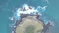 Not Focus Image of Koka Beach Flores from aerial view, East Nusa Tenggara, Indonesia