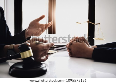 notary consultant concept , Judge gavel with client consult lawyer lawsuit bankruptcy of her. Concepts of law.