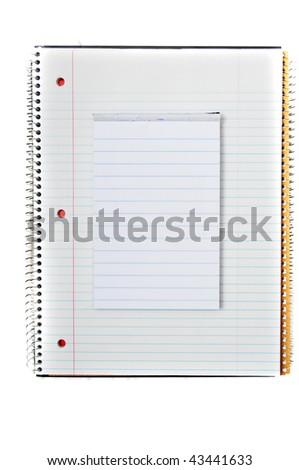 Note book and mini notebook on top of one another.