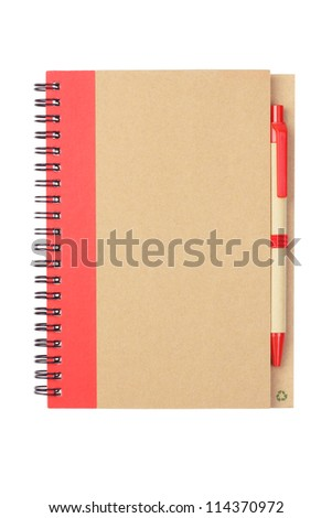 Note book and Pen Made From Recycled Materials on White Background