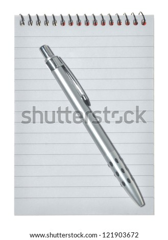 Note book and pencil on white background