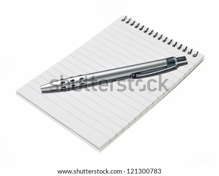 Note book on white background with pencil