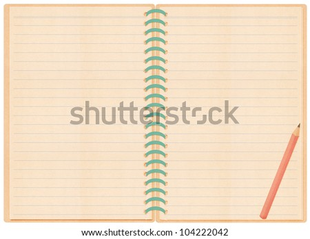 note book paper craft stick on white background Pencil