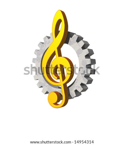 note key and gearwheel  on white background - industrial music logo - 3d illustration