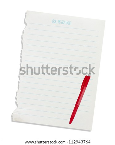 Note paper and pen isolated on a white background.