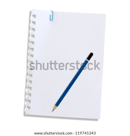 Note paper and pencil isolated on a white background.