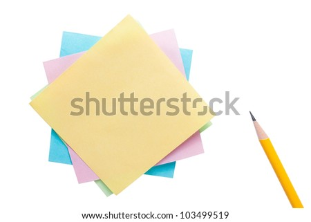 Note paper and pencil isolated on white background