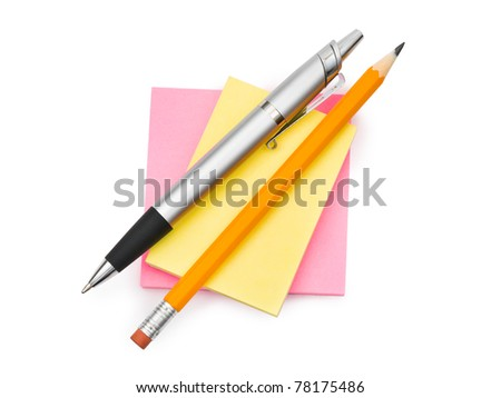Note paper and pens isolated on white background