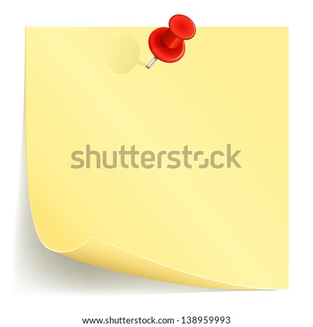 Note paper and red pin on white background, illustration.