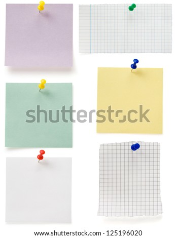 note paper and tack  isolated on white background