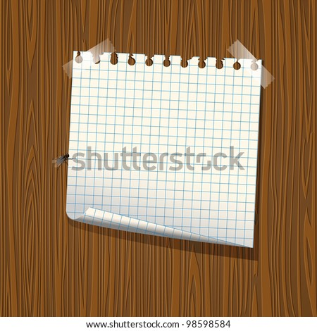 Note paper on wood background.Raster version