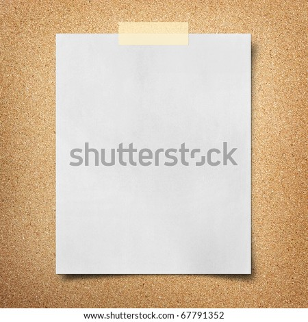 note paper taped on cork board background