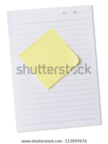 note paper - white and yellow isolated on white