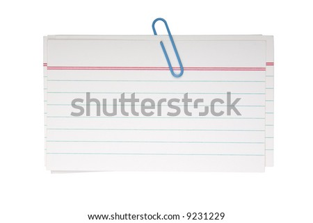 Note papers fastened with a blue clip