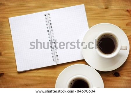 note with coffee