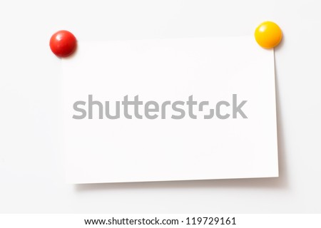Note with magnets. isolated