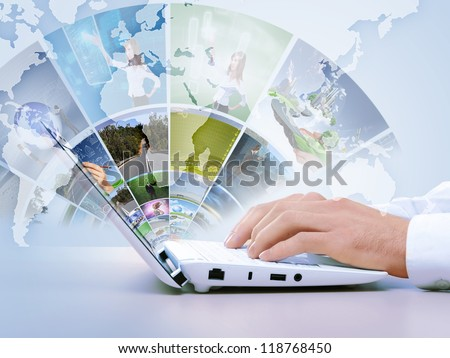 Notebook against white background with various images